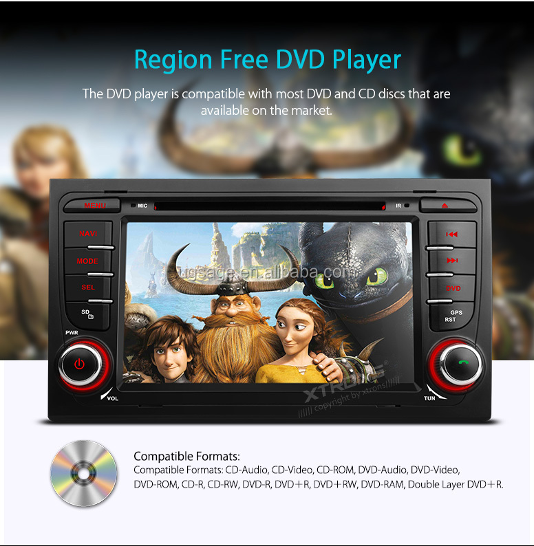 XTRONS auto parts 2 Din 7 inch Built-in DAB + Tuner Car DVD Player GPS Navigator Fit for Audi A4 / S4 / RS4