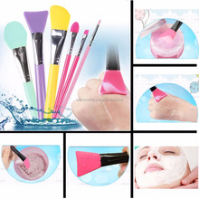 New Wooden Handle Silicone Facial Face Mud Mask Mixing Brush Cosmetic Makeup Kit Beauty Tools
