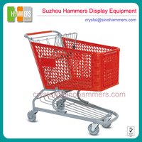 Metal Supermarket Foldable Shopping Trolley,Plastic Shopping Cart with Basket