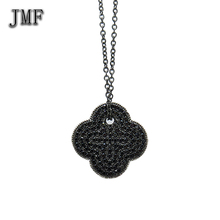 925 sterling silver black metal names jewellery brands necklace Four Leaf Clover pendant long chain necklace