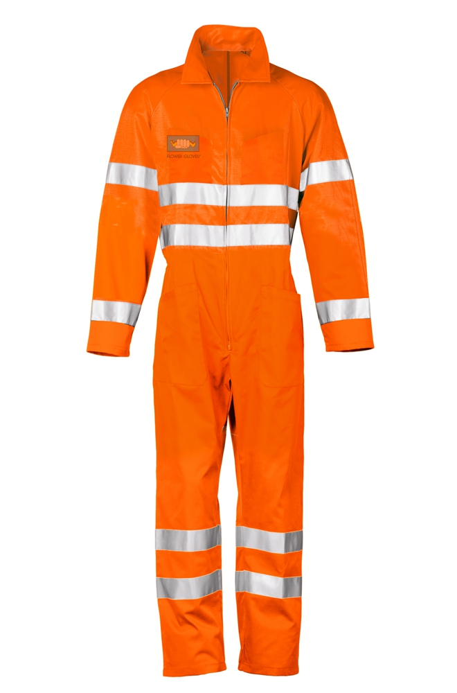 High visibility poly-cotton reflective orange jumpsuit with EN 20471