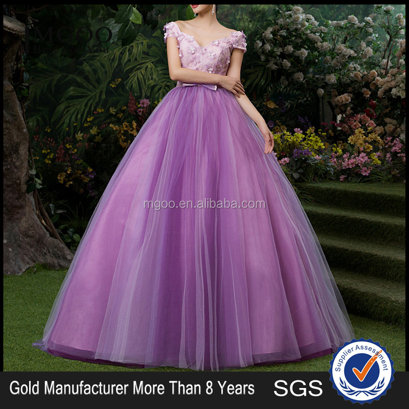 MGOO Elegant New Arrival Off Shoulder Purple Quinceanrea Dress For Girl Formal Gradution Applique Prom Dress YDYS15B0079