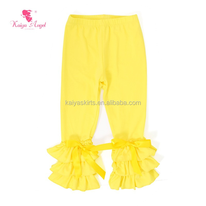 Wholesale boutique colorful kids leggings plain cotton girls ruffle pants