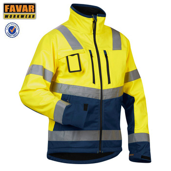 Fluo Cotton Twill Hi Vis Tape Waterproof Wet Weather Worker Jacket