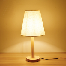 Modern minimalist wooden fabric lamp bed room study office decorative table lamp