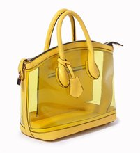 Bright yellow vintage ladies transparent leather ladies handbag