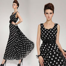 2014 Hot Saling summer Women's Chiffon Sexy Maxi Long Dot Design Casual Sleeveless Party Dress With Belt plus size SV004977