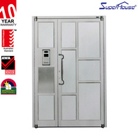 China suppillers double swing door for commercial with fixed glass aluminum swing door