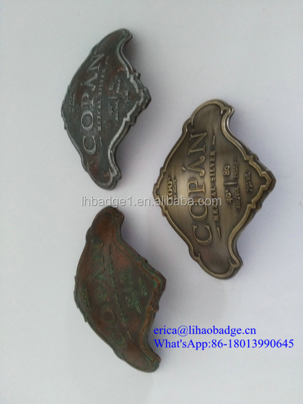 old style engraved logo metal antique metal labels for bottles
