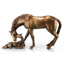 Decorative meaningful bronze animal statue brass mather and son horse sculpture