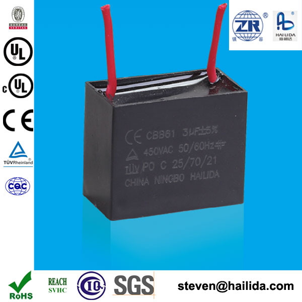 CBB61 3uf do ventilador motor run capacitor