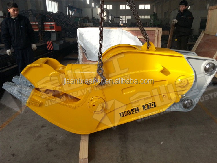excavator used hydraulic concrete crusher for building secondary demolition