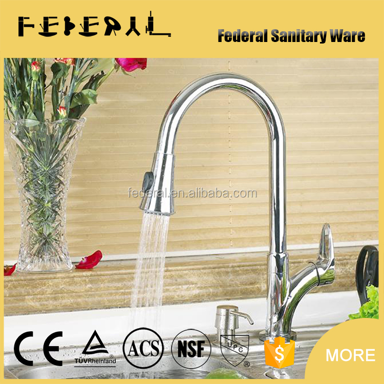 Home Kitchen Brass Polished Pull Out Sink Kitchen Mixer