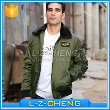 Wholesale JK06 Polyester <strong>Mens</strong> Flight Bomber Jacket For Winter With Fur Collar