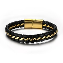 black leather bracelet wholesale mens leather bracelet women stainless steel bracelet gold