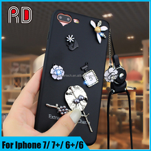 Hot sale gold leaves sliver pendant lucky 5 perfume bling diamond shiny flower black cover tpu phone case for iphone 6 6s 6plus