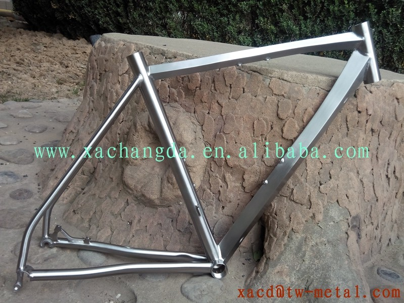 chinese Ti road bike frame titanium road bicycle frame with diamond shape tube titanium cyclocross frame with special shape tube