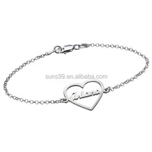 Name In Middle Heart Bracelet For Love, Custom Design Stainless Steel Personalized Jewelry Wholesale