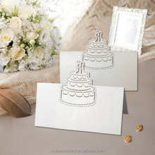 Popular laser cut customized paper cake wedding favor name place card
