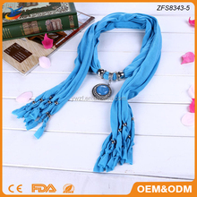 Gemstone Pendant Scarf Fringe Style Jewelry Accessories Scarf