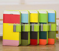 Hot Selling Three Color Folio Wallet Style Leather Case for iPhone 5C mini Lite inside with Card Slots