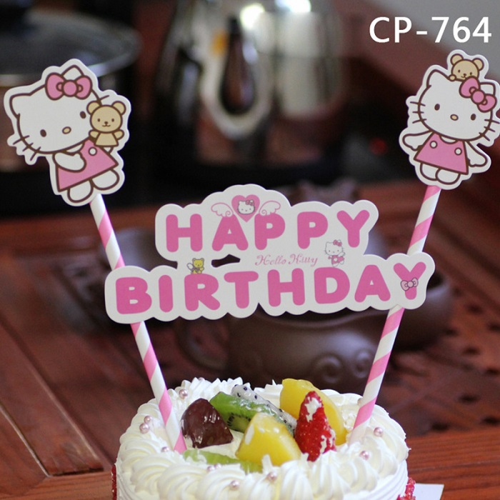 1 Set Cartoon Hello Kitty Cake Cupcake Toppers Happy Birthday