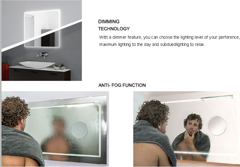 New design bathroom LED radio bluetooth mirror