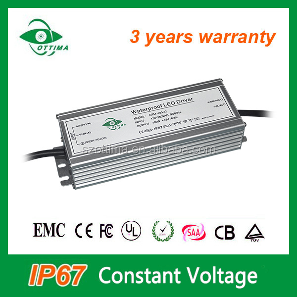 smps power supply ip67 constant voltage 12v 24v 100watt led driver for christmas lights