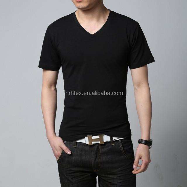 Custom Eco-friendly Cheap V Neck Blank Plain Bamboo Tshirt