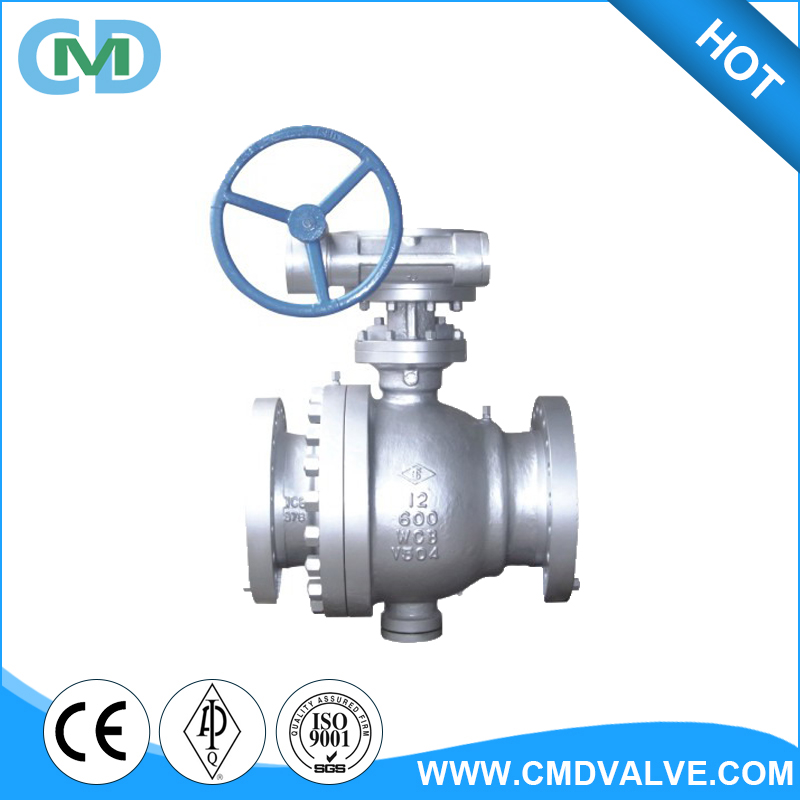 "API 607 High Pressure Flow Master Trunnion Type Cast Steel Flange RF 12"" Ball Valve"