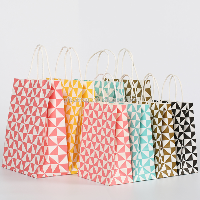 Printed Machine Made Colored Shopping Paper Gift Bag