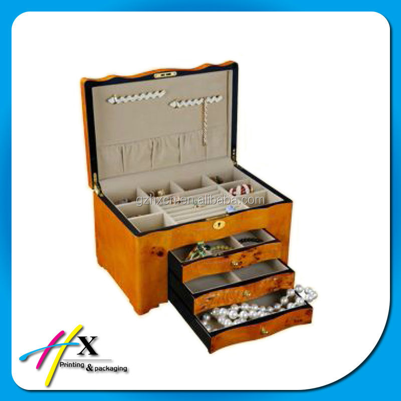 High quality lacquer custom antique jewelry wooden box jewellery box with drawers