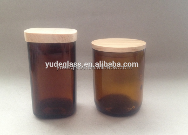wholesale amber glass candle jar with lid , decorative glass candle holder