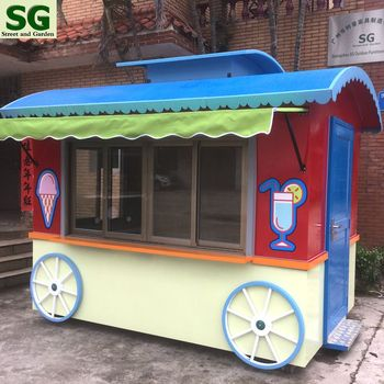 Fireproof food kiosk, mobile galvanized steel food truck for hot weather
