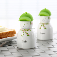 salt and pepper with silicone cap,green decal