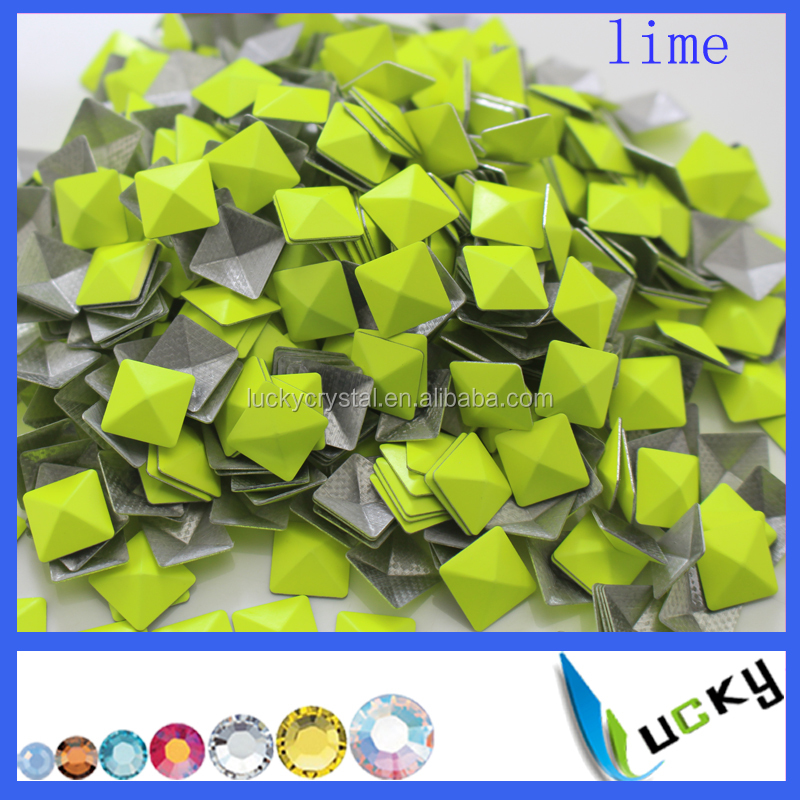 Neon Lime Copper rhinestones Pyramid Hot fix Convex dome studs for clothing