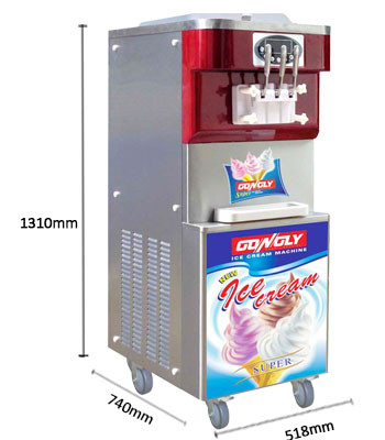 Gongly Factory 3-Flavor soft ice cream vending machine with CE certificate