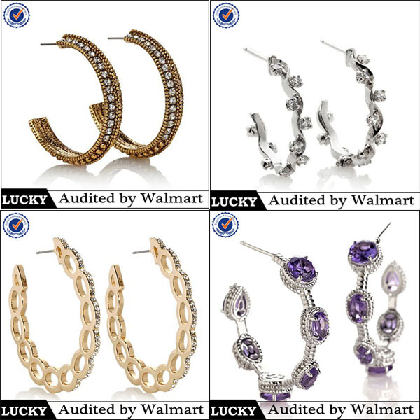 factory direct wholesale fashion jewelry gold hoop earrings