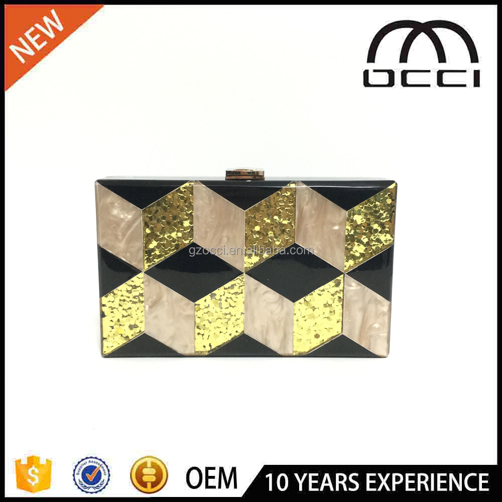 Hot selling evening clutch bag black box young women acrylic evening bag