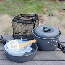 Outdoor Cookware Mess Kit for Camping Lightweight Cookset Include Pots, Bowls