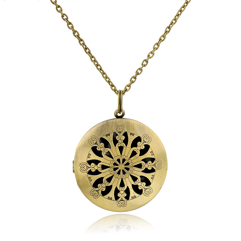Antique Bronze Round Locket with Two Chains ,Aromatherapy Diffuser Necklace Pendant for Essential Oils.