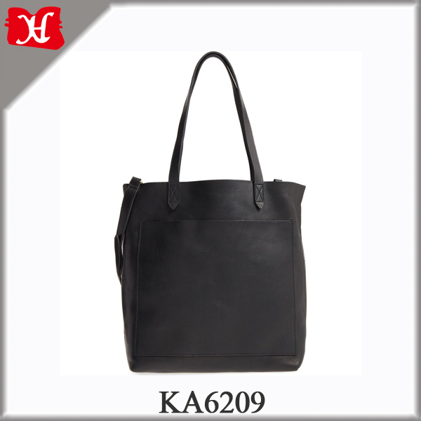 Medium Leather Transport Tote Simple Black Leather Tote Bag for Ladies