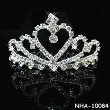 Latest design shiny crystal crown comb tiaras for bride