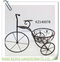 KZ140078 Unique metal bicycle tricycle plant flower standing