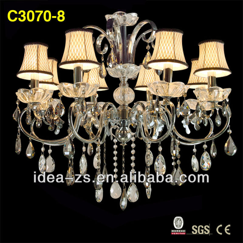 Fabric Shade 6 Arms French Style Crystal Wrought Iron Chandeliers