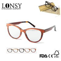 High Top Fashion Cat Eye Frame Glasses,Rose Wooden Optical Eyewear With Acetate Terminal LS2946-C4