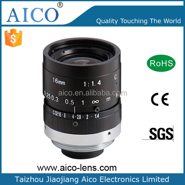factory rent in china camera hd 2 megapixel 2/3 inch c mount F1.4 16 mm cctv lens