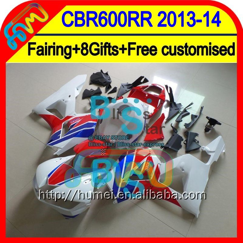 Red white 8Gifts For HONDA CBR600RR 13-14 CBR600 RR F5 28HM11 CBR 600RR 600 RR 13 14 2013 2014 Injection Fairing Blue white