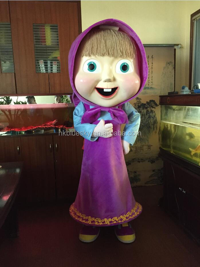 2016 fiberglass Masha mascot costume masha and the bear mascot costume