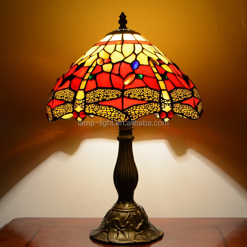 "S009R12T02. 12"" antique tiffany table <strong>lamp</strong> for bedroom with wholesale price"